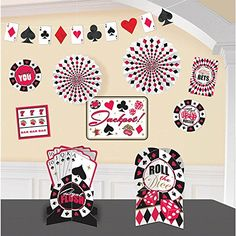 This Casino Decorating Kit will transform your room in a flash for your casino or poker party. Have the luck of the draw with this Casino Decorating Kit! Casino Royale, Casino Party Decorations, Casino Theme Parties, Party Themes, Party Ideas, Party Centerpieces, Theme Ideas, Casino Room, Casino Table