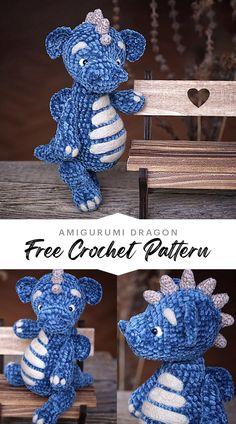 Crochet Amigurumi Free Patterns, Crochet Dolls, Crochet Yarn, Crochet Dragon Pattern, Quick Crochet, Crochet For Kids, Love Crochet, Crochet Crafts, Yarn Crafts