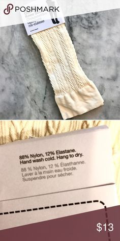 🆕 Off white cream opaque cable knit socks nwot Tried these on once in doors and my legs are just too thick for them! No longer in production anymore and these are super cute if your legs are on the smaller size! For reference I'm almost 5'9 and have very large thighs from powerlifting American Apparel Accessories Hosiery & Socks