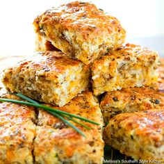 These scrumptious Cheddar Sausage Biscuits make a tasty start to any day. Glistening with melted butter, they're filled with breakfast saus. Honey Butter Biscuits, Southern Buttermilk Biscuits, Sausage Breakfast, Breakfast Dishes, Breakfast Recipes, Breakfast Items, Sausage Biscuits, Homemade Biscuits, Biscuit Recipe