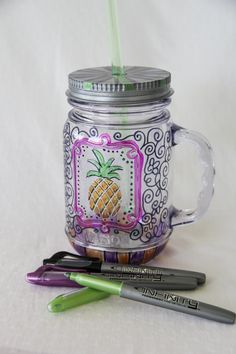 Totally cute...Customize your mason drinking jars with our colorful Infinity Permanent Markers to make your drinks more festive!