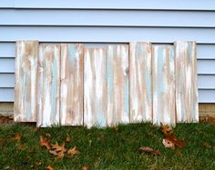 Staggered Reclaimed Wood Shabby Chic Headboard Wall Art - Gray / Blue / White…