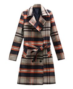 Belted Double-breasted Woolen Plaid Coat