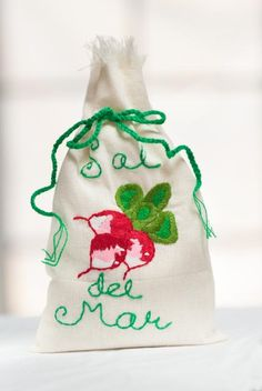 """We named our embroidered bag of gourmet sea salt, """"Ravishing Radish""""...perfect for any vegetable (or food or cocktail)"""