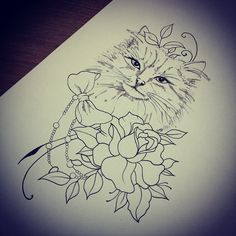 Tattoo cat and flower