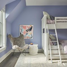 Contemporary Pro-Grade Kitchen With Eat-In Island Big Girl Rooms Contemporary EatIn island Kitchen ProGrade Bedroom Wall, Girls Bedroom, Bedroom Decor, Bedroom Ideas, Periwinkle Bedroom, Periwinkle Color, Girls Room Paint, Bunk Rooms, Bunk Beds