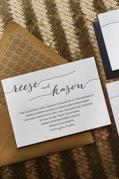 REESE Suite Romantic Package, black, gold, art deco, glitter, letterpress wedding invitations, black tie wedding invitations