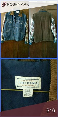 Denim & Corduroy Jacket Denim and corduroy jacket with plaid sleeves. Inside has light quilted lining and 1 pocket. Front buttons up, 2 button/flap breast pockets,  2 hand pockets. Buttons at cuffs. Good used condition, no tears or stains. Arizona Jean Company Jackets & Coats