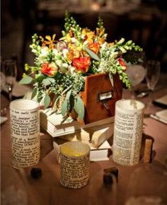 Vintage Centerpieces   Vintage School, Library, Old Books Theme O-old-books-centerpieces-3 – DIY Weddings and Events