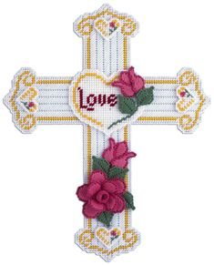 Free Plastic Canvas Crosses | Cross With Roses Plastic Canvas Kit by Needlecraft Super Shop