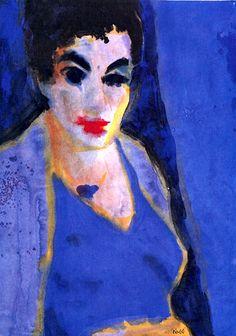 Frau T. in a Blue Dress Emil Nolde - 1930