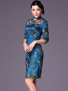 Blue Short Cheongsam / Qipao / Chinese Evening Dress