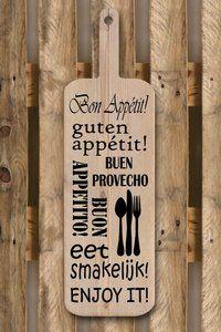 Guten Appetit Buen Provencho Buon Appetto Eet smakelijk Enjoy it  Steigerhouten broodplank 55x19 cm. De broodplank is gemaakt van gebruikt steigerhout en is uitsluitend geschikt ter decoratie....