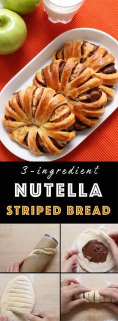 3 Ingredient Nutella Striped Bread – the easiest recipe for happiness! It's almost too pretty to eat! All you need is only 3 ingredients: crescent roll, Nutella or chocolate, and an egg. The perfect snack, breakfast or brunch and you will wow your friend! Quick and easy recipe. Party food. Great for a holiday brunch such as Easter, Mother's Day or Father's Day. Vegetarian. Video recipe. | Tipbuzz.com
