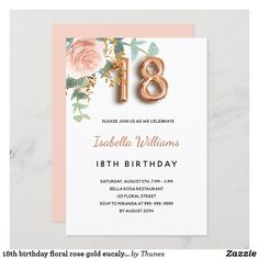 18th birthday floral rose gold eucalyptus greenery invitation Colored Envelopes, White Envelopes, 18th Birthday Party, Envelope Liners, Custom Invitations, Rsvp, Greenery, Party Supplies, Party Themes