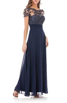 Free shipping and returns on JS Collections Embroidered Illusion Bodice Gown  at Nordstrom.com. Mother Of Groom ... 641a7c8cd1e0