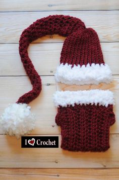 Santa hat & diaper cover crocheted photo props for babies & photographers #Christmas #Santa