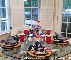 A Red, White & Blue Patriotic Table Setting in Honor of Memorial Day
