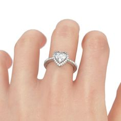 Love Heart Platinum Plated 925 Sterling Silver 1 Carat Women's Promise Ring / Engagement Ring