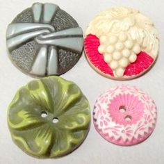 4 Vintage Buffed celluloid buttons by bluehousebuttons on Etsy, $6.99