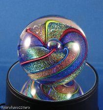 GLASS EYE STUDIO Rainbow Cane Round Paperweight 467 KALEIDOSCOPE