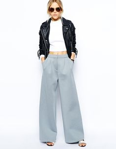Enlarge ASOS Wide Leg Pants in Premium Bonded Scuba