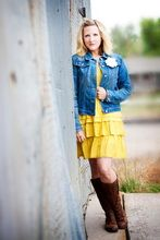 Yellow and blue jean too cute