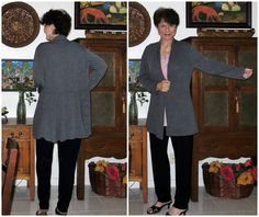 McCalls 6996 Knit Cardigan, featuring a skirted back, done in a mini-rib jersey knit.