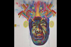 """Óscar González, más conocido como """"Guache"""", expone en la galería Neurotitan (Berlín) al mismo tiempo que en el Museo de Arte Contemporáneo (MAC) de Bogotá. Los personajes de sus representaciones son especialmente indígenas, afros y campesinos. @elespectadorcom @James Kudo"""
