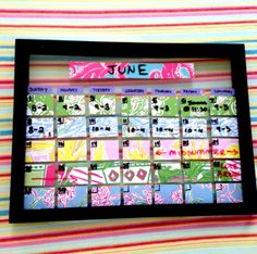 DIY dry erase calendar using old Lilly Pullitzer agenda pages and a picture frame!