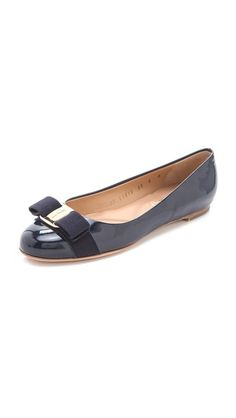 TCC Shopbop Friends and Family Pick!  Use code 'INTHEFAMILY14' for 25% off sitewide! These navy Salvatore Ferragamo Varina Patent Leather ballet flats are a must-have.
