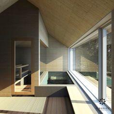 Sunhouse - sauna and pool with panorama window. House Goals, Stairs, Windows, Architecture, Home Decor, Koti, Maria Sharapova, Shower, Auvergne