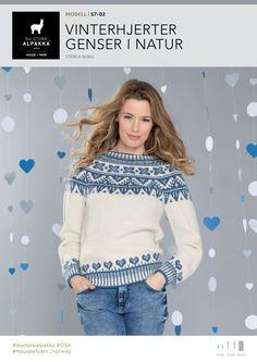 Vinterhjerter genser i natur – Du Store Alpakka Diy And Crafts, Wool, Barn, Knitting, Womens Fashion, Inspiration, Patterns, Beautiful, Sacks