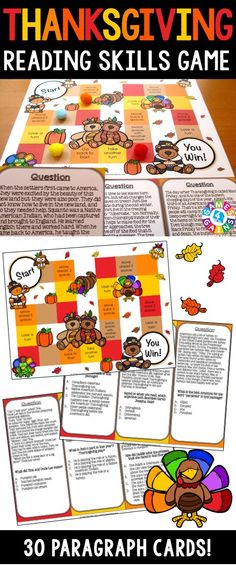 This Thanksgiving Reading Comprehension Board Game is so much fun for practicing main idea, inference, theme, text structure, author's purpose, cause and effect, sequence, and more!