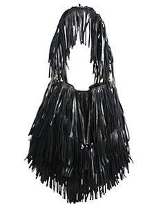 Roberto Cavalli - Fringed Calfskin Leather Handbag