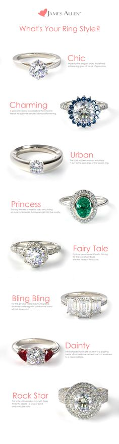 What's Your Engagement Ring Style? Chic ~ Charming ~ Urban ~ Princess ~ Fairy Tale ~ Bling Bling ~ Dainty Or Rock Star? Dream Engagement Rings, Engagement Ring Styles, Designer Engagement Rings, Wedding Engagement, Wedding Rings, Solitaire Engagement, Bling Bling, The Bling Ring, James Allen Rings
