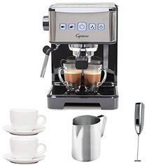 Capresso 12401 Ultima PRO Programmable Espresso and Cappuccino Machine with 2 Cup and Saucers 3 oz Stainless Steel Frothing Pitcher and Handheld Milk Frother Cappuccino Maker, Cappuccino Coffee, Espresso Maker, Coffee Maker, Coffee Shops, Coffee Coffee, Folgers Coffee, Ninja Coffee, Costco