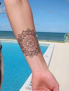 Small Traditional Mandala Hand Drawn Temporary Tattoo