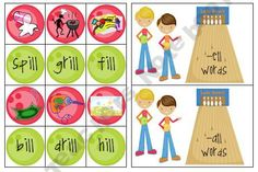 This has words included in the ill, ell, all word families. Students must match the pictures to the words listed on the other cards. Then they must place the cards under the correct word family.