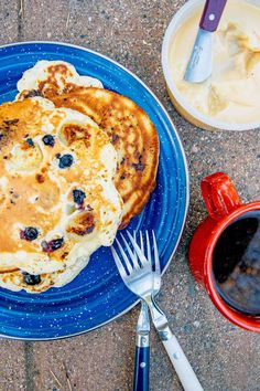 Combining two classic pancake recipes into one, these blueberry banana pancakes are a warm and fluffy way to start your morning.