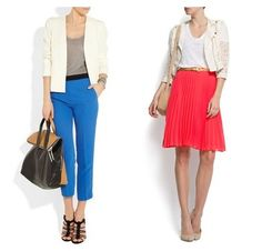 stripes+bold solid color+white blazer=eye catching fresh look