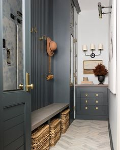 I oddly enjoy turning non functional, awkward little spaces into beautiful rooms with alllll the sneaky storage. Loved how this hallway turned mudroom came out at projectoffwiththeangles House Design, Building A House, Interior Design, House Interior, Home, Interior, Home Decor, Mudroom Design, Room