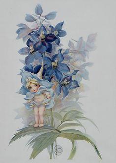 May Gibbs, Blue Orchids Vintage Fairies, Vintage Art, Vintage Vogue, Fairytale Art, Flower Fairies, Fairy Art, Australian Artists, Children's Book Illustration, Blue Orchids