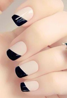Black and cream nails.