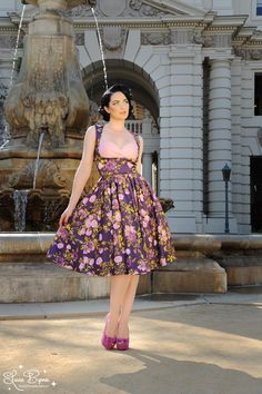 Absolutly in love with this dress!  Grace Dress in Pink Floral on Purple Satin - Were thrilled to bring you this beautiful floral version of our popular Grace Dress!