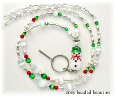 Holiday Beaded Lanyard, Id Badge Holder, Id Necklace