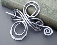 Aluminum Dancing Swirls and Waves Shawl Pin by nicholasandfelice