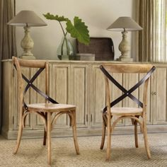 Adeco Tan Elm Wood Vintage-Style Dining Chairs  (Set of two)