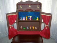 puppet theater made from cabinet