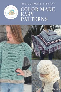 Looking for patterns to use with Color Made Easy Yarn? Need help finding the perfect pattern like the ones above from (Two of Wands, I Love Tinder Box, and the Velvet Acorn)? This list of over 50 patterns for size 5 yarn will help you find the perfect next project for your Color Made Easy Yarn (or any size 5 yarn). Love Crochet, Crochet Shawl, Double Crochet, Knitting Projects, Crochet Projects, Diy Projects, Velvet Acorn, Single Crochet Stitch, Joann Fabrics